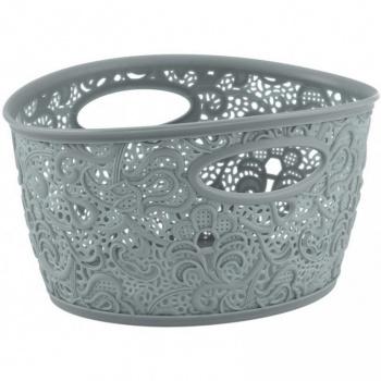 Menší plastový dekorativní košík s ornamenty, šedý