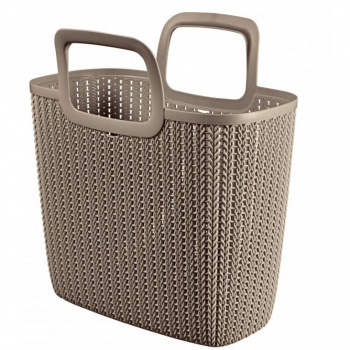 Plastová nákupní taška, háčkovaný motiv, hnědá