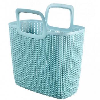 Plastová nákupní taška, háčkovaný motiv, modrá