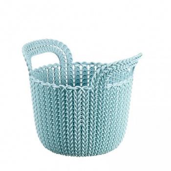 Menší plastový košík 3 l, háčkovaný vzhled, modrý