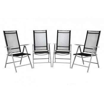 4 ks elegantní hliníková židle s textilním výpletem, šedá / černá
