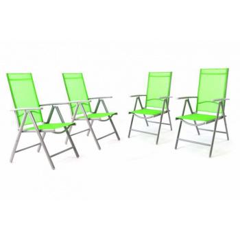 4 ks elegantní hliníková židle s textilním výpletem, šedá / zelená