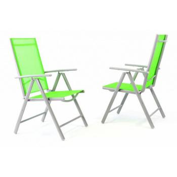 2 ks zahradní skládací židle s textilním potahem, hliníkový rám, zelená