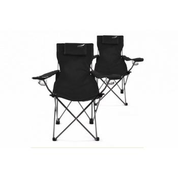 2 ks skládací kempinková židle s područkami a polštářem, černá