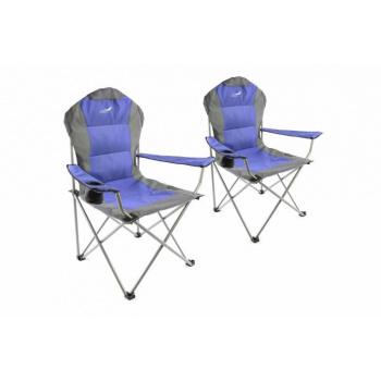 2 ks skládací textilní židle na kempování / rybaření, šedá / modrá