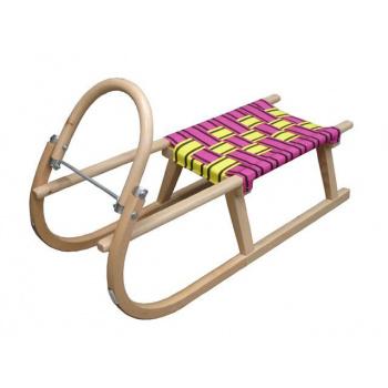 Dětské dřevěné sáňky s kovovými lyžinami, textilní sedlo - žlutá / fialová