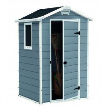 Malý plastový domek na nářadí, 128x94x196 cm, šedý