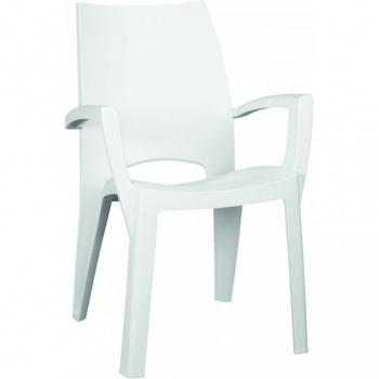 Designové plastové křeslo, stohovatelné, bílé