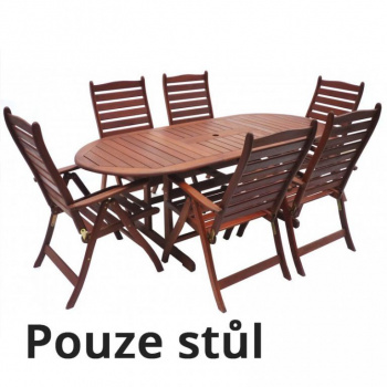 Dřevěný oválný stůl z masivu, tvrdé dřevo MERANTI