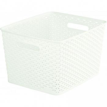 Plastový box bez víka na drobnosti, velký, krémový