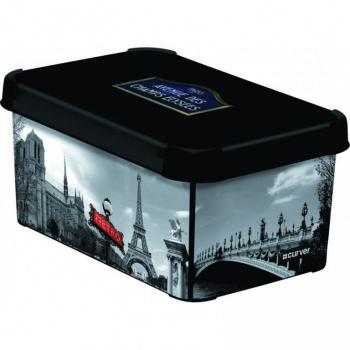 Úložný plastový box s víkem, stohovatelný, malý, potisk Paříž