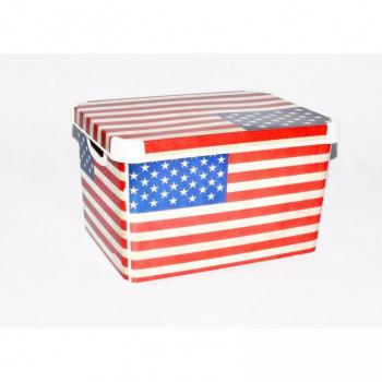 Úložný plastový box s víkem, stohovatelný, velký, potisk USA