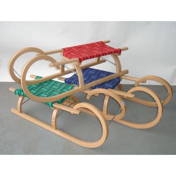 Dětské dřevěné sáňky - rohačky, textilní sedlo - různé barvy
