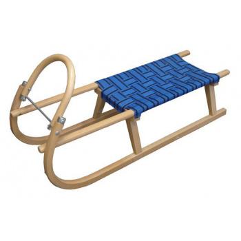 Dřevěné sáňky s kovovými lyžinami 110 cm, modré