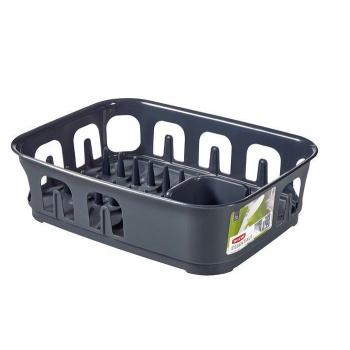 Plastový kuchyňský odkapávač na nádobí, tmavě šedý