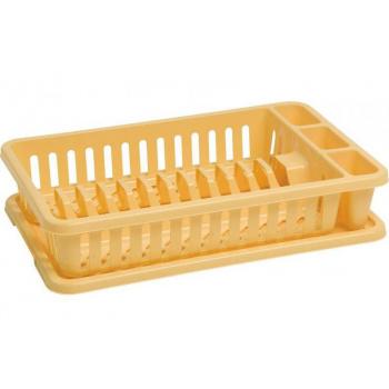 Plastový odkapávač na nádobí s tácem na odkapanou vodu, žlutý