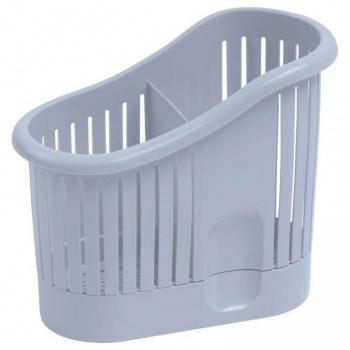 Plastový odkapávač na příbory se 2 přihrádkami, šedý