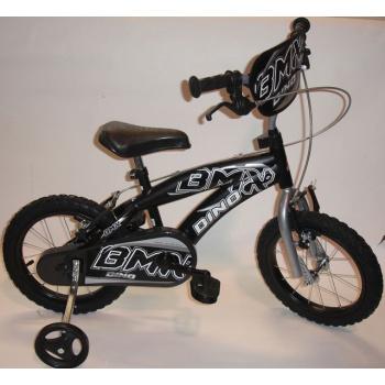Dětské horské kolo 14 s přídavnými kolečky, nafukovací kola, černé
