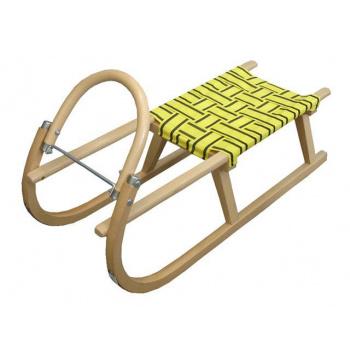 Dětské dřevěné sáňky s kovovými lyžinami 95 cm, textilní sedlo - žluté