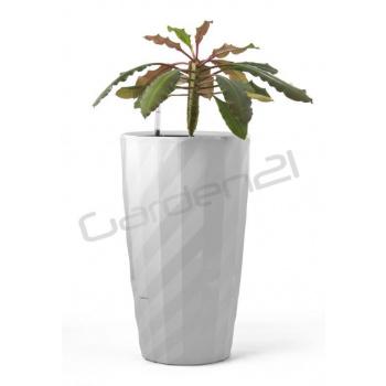Vysoký okrasný květináč samozavlažovací, 57 cm, bílý