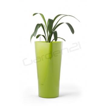 Vysoký okrasný květináč samozavlažovací, trojúhelníkový, 56,5 cm, zelený