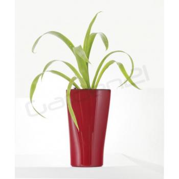 Vysoký okrasný květináč samozavlažovací, trojúhelníkový, 26 cm, červený