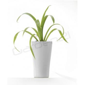 Vysoký okrasný květináč samozavlažovací, trojúhelníkový, 26 cm, bílý