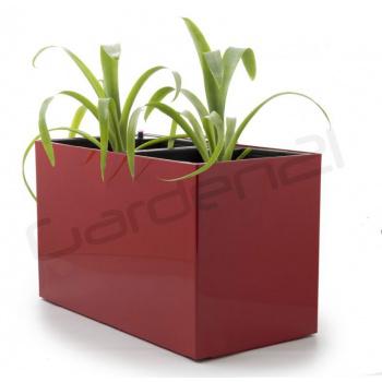 Samozavlažovací květináč obdélníkový, na 2 rostliny, 56 cm, červený