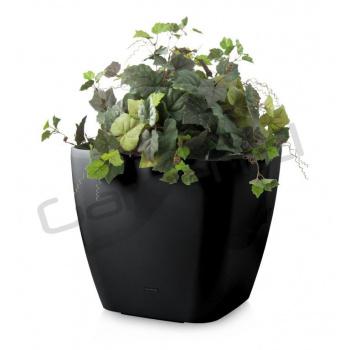 Dekorativní samozavlažovací květináč čtvercový  42 cm, černý