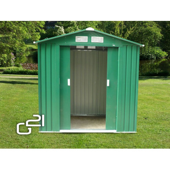Kovový zahradní domek, 2 křídlé posuvné dveře, 191x171x190 cm, zelený