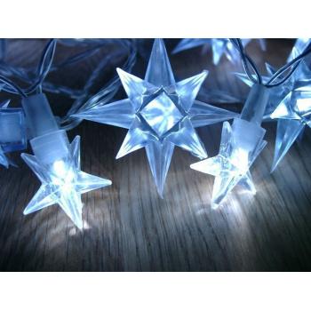 Vánoční dekorativní osvětlení venkovní / vnitřní, řetěz z hvězd, 4 m
