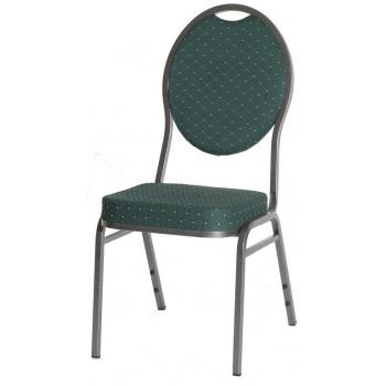 Stohovatelná kovová židle s polstrovaným sedákem, zelená
