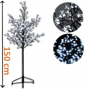 Umělý okrasný strom se svítícími kvítky venkovní / vnitřní, 1,5 m