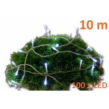 Vánoční LED osvětlení - řetěz venkovní / vnitřní, časový spínač, 10 m