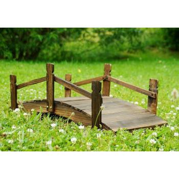 Dřevěný dekorativní most z masivu, hnědý, 70 cm