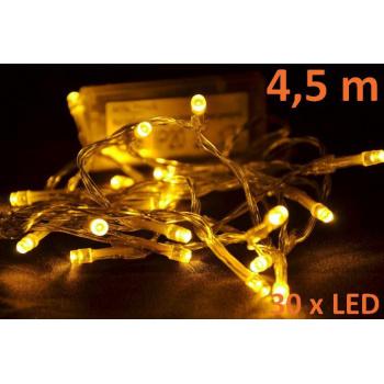Vánoční osvětlení vnitřní - LED řetěz na baterie, 4,5 m