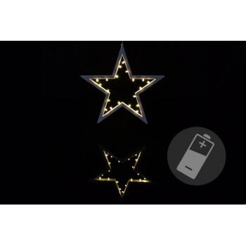 Vánoční svítící hvězda vnitřní, na baterie, 25,5 cm