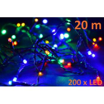 Barevný vánoční LED řetěz venkovní / vnitřní, 200 LED diod, 20 m