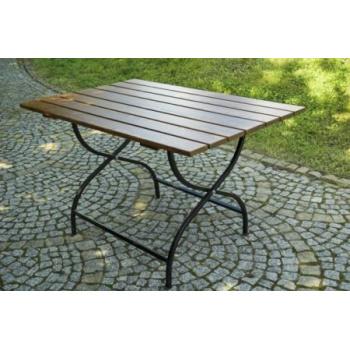 Skládací zahradní stůl obdélníkový, kovový rám / dřevěná deska
