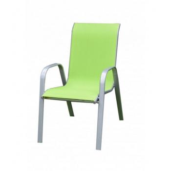 Zahradní kovové křeslo s textilním potahem, světle zelené