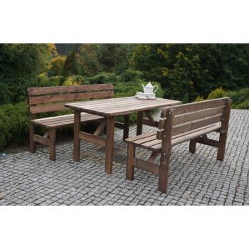 Dřevěná zahradní lavice z masivu 150 cm, mořená borovice