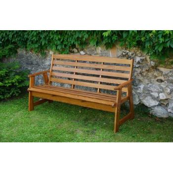 Dřevěná venkovní lavice s područkami 174 cm, lakovaná borovice