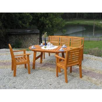 Dřevěná lavice pro 3 osoby 157 cm, mořená borovice