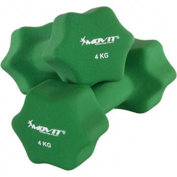 2 ks šestihranná činka s neoprenovým potahem, 2x4 kg, zelená