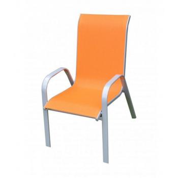 Kovové zahradní křeslo s textilním výpletem, oranžové