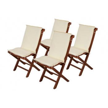 4 ks polstrování na židle s nízkým opěradlem, snímatelný potah, krémové