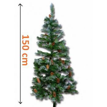 Umělý vánoční strom se zasněženým vzhledem a šiškami, 1,5 m
