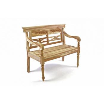 Dětská okrasná dřevěná lavička, vyřezávané detaily, 80 cm