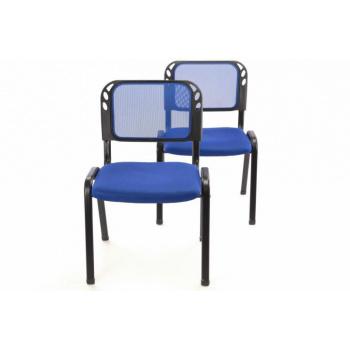 2 ks kovová stohovatelná židle s polstrovaným sedákem, modrá