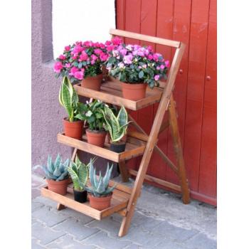 Dřevěný výstavní stojan / regál na květiny, hnědý